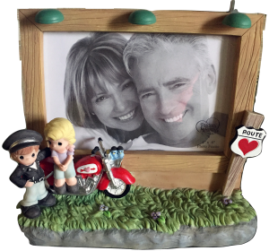 motor cycle couple photo frame